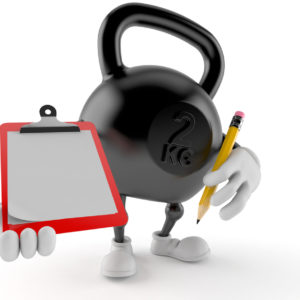 Kettlebell character holding clipboard and pencil isolated on white background. 3d illustration